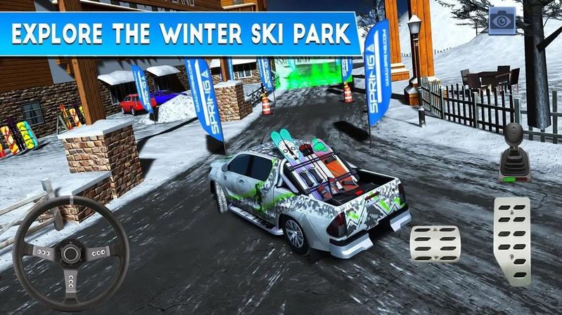 冬季滑雪公园:雪地车司机