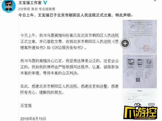 王宝强起诉离婚 争孩子抚养权-爪游控