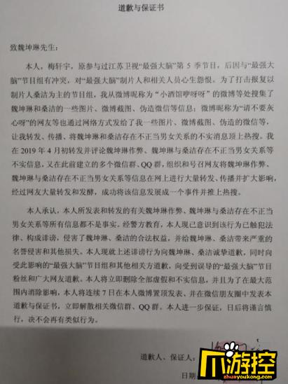 最强大脑梅轩宇发道歉声明 承认捏造魏坤琳桑洁不正当关系