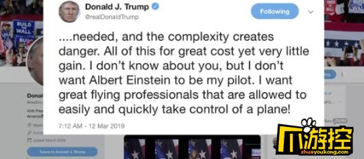多国宣布停飞波音737 特朗普吐槽:不想爱因斯坦当我飞行员